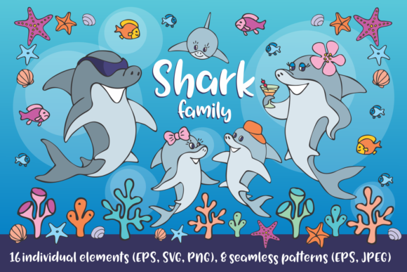 Download Free Shark Family Vector Clip Art Seamless Graphic By Olga Belova for Cricut Explore, Silhouette and other cutting machines.