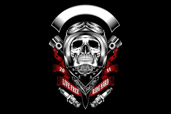 Download Free Skull Bikers Wearing Helmet Graphic By Epic Graphic Creative for Cricut Explore, Silhouette and other cutting machines.