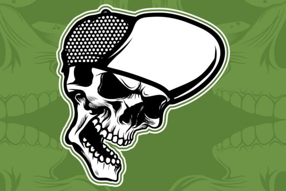 Download Free Skull Wearing Hat Hand Drawing Vector Graphic By Epic Graphic for Cricut Explore, Silhouette and other cutting machines.