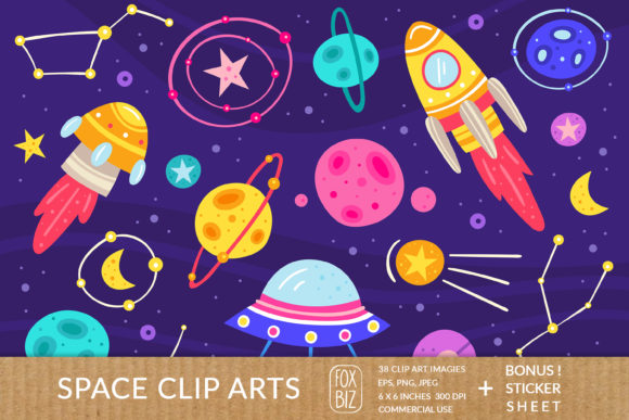 Print on Demand: Space Clipart. Vector Prints, Stickers. Graphic Illustrations By FoxBiz