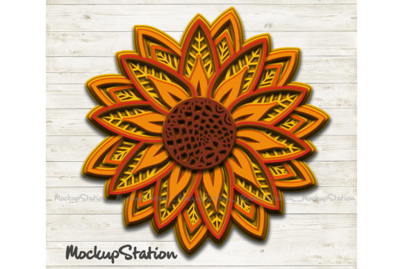 Download Free Sunflower 3d Mandala Layered Flower Graphic By Mockup Station SVG Cut Files