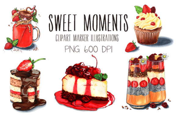 Print on Demand: Sweet Moments Marker Illustrations Set Graphic Illustrations By VashaRisovasha