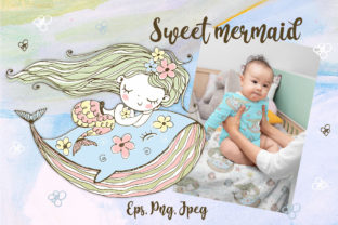 Sweet Mermaid Graphic Illustrations By grigaola