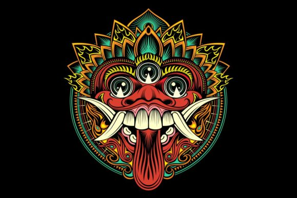 Download Free Traditional Ritual Balinese Mask Vector Graphic By Epic Graphic Creative Fabrica for Cricut Explore, Silhouette and other cutting machines.