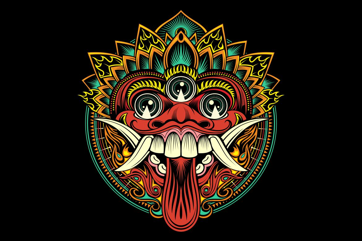Download Free Traditional Ritual Balinese Mask Vector Graphic By Epic Graphic for Cricut Explore, Silhouette and other cutting machines.
