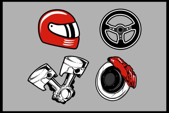 Vector Illustration of a Parts Car Set Graphic Illustrations By Epic.Graphic