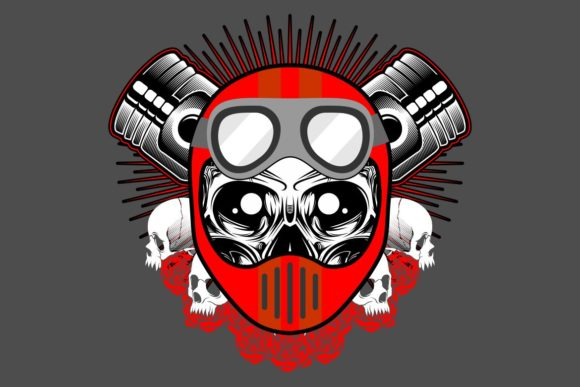 Download Free Vintage Motorcycle Print With Skull Graphic By Epic Graphic SVG Cut Files