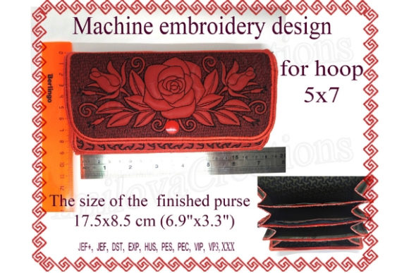 Rose Wallet Sewing & Crafts Embroidery Design By ImilovaCreations - Image 1