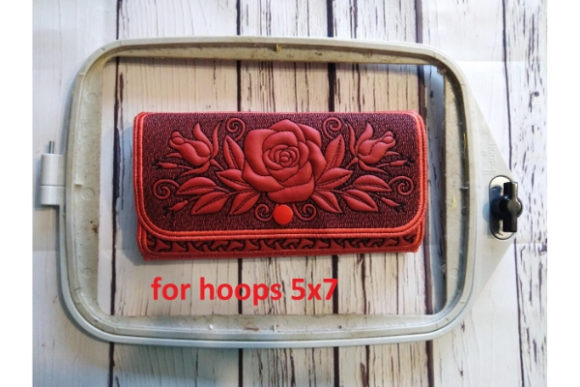 Rose Wallet Sewing & Crafts Embroidery Design By ImilovaCreations - Image 2