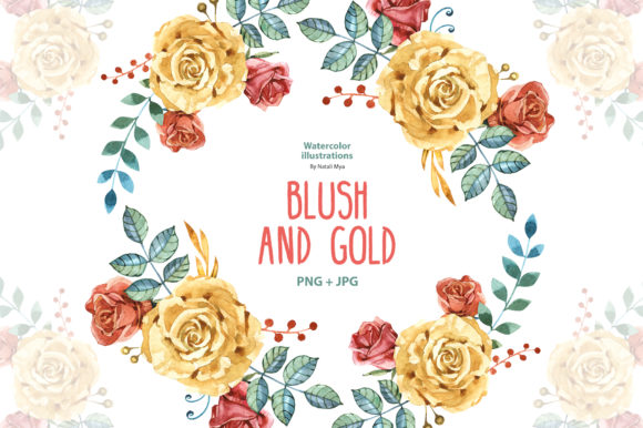 Download Free Watercolor Blush And Gold Roses Graphic By Natalimyastore for Cricut Explore, Silhouette and other cutting machines.
