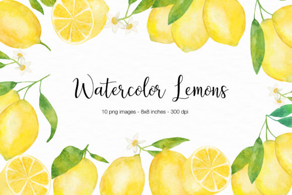 Watercolor Lemons Illustration Graphic Illustrations By BonaDesigns