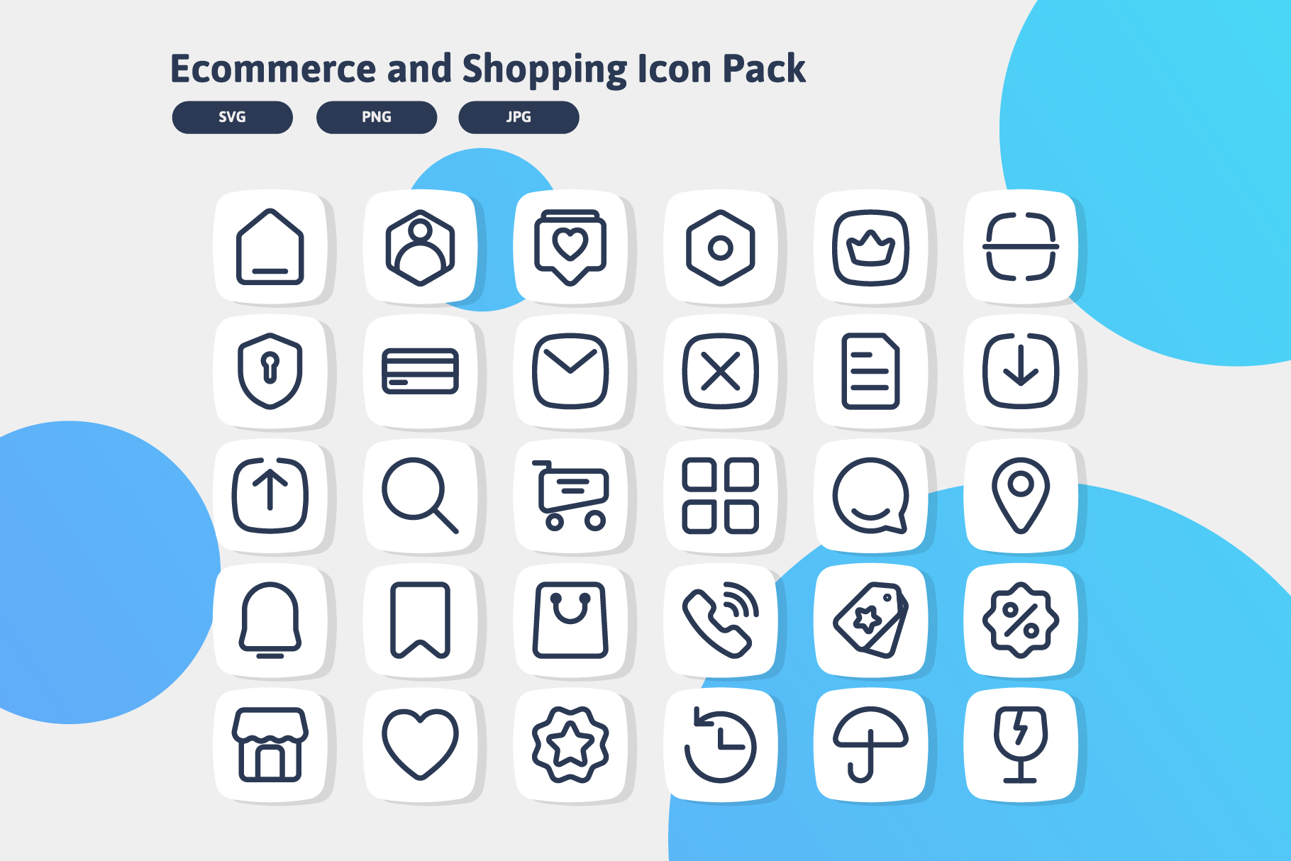 Download Free Web Ecommerce And Shopping Icon Pack Graphic By Bayu Febrianto for Cricut Explore, Silhouette and other cutting machines.
