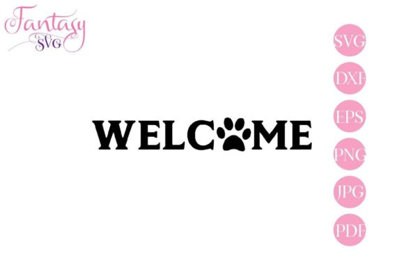 Print on Demand: Welcome with Paw - Cut Files Graphic Crafts By Fantasy SVG