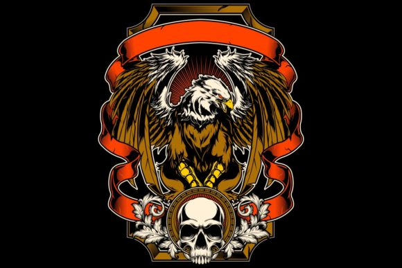 Eagle and Skull Hand Drawing Vector Graphic Illustrations By Epic.Graphic