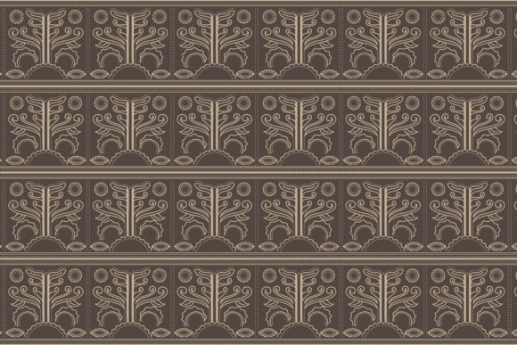 Download Free Floral Batik Pattern Brown Flat Single Graphic By Noory Shopper for Cricut Explore, Silhouette and other cutting machines.