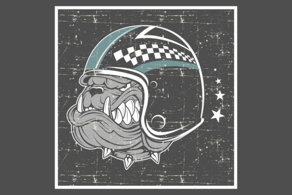 Download Free Grunge Style Bulldog Wearing Helmet Graphic By Epic Graphic for Cricut Explore, Silhouette and other cutting machines.