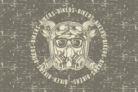 Download Free Grunge Style Vintage Skull Skull Bikers Graphic By Epic Graphic for Cricut Explore, Silhouette and other cutting machines.