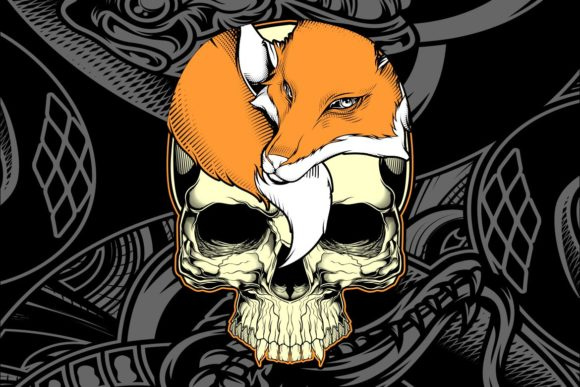 Head Skull and Fox Hand Drawing Vector Graphic Illustrations By Epic.Graphic