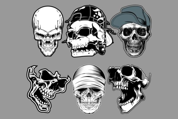 Set Of Skull In Hand Drawing Style Graphic By Epic Graphic