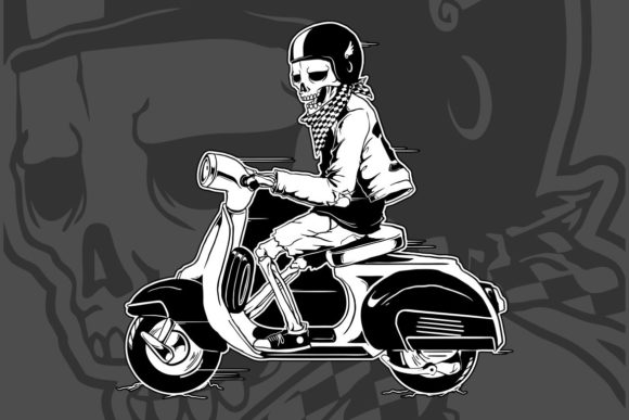 Download Free Skeleton Driving A Vintage Scooter Graphic By Epic Graphic for Cricut Explore, Silhouette and other cutting machines.