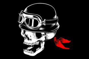 Download Free Skull Bikers Wearing Retro Helmet Graphic By Epic Graphic for Cricut Explore, Silhouette and other cutting machines.