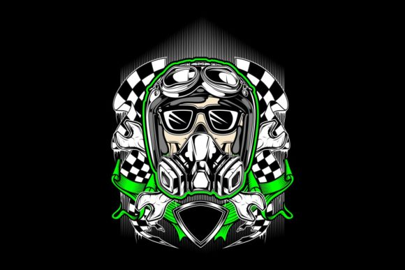 Skull Helmet Racing with Gas Mask Graphic Illustrations By Epic.Graphic