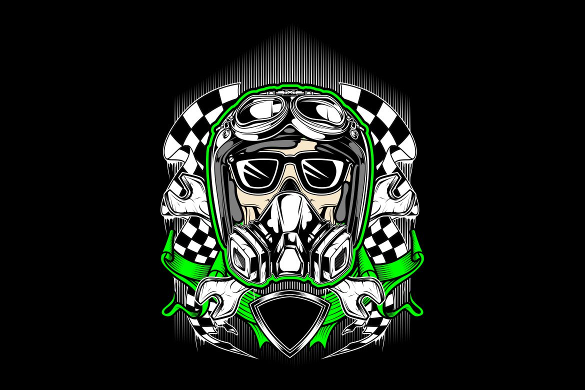 Skull Helmet Racing With Gas Mask Graphic By Epic Graphic