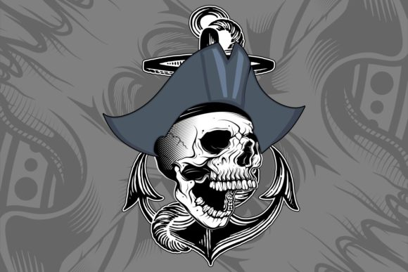 Skull Pirate Hand Drawing Vector Graphic Illustrations By Epic.Graphic
