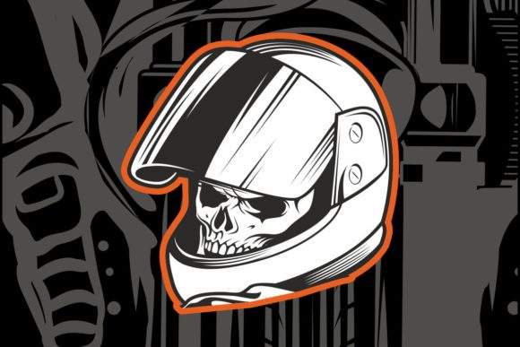 Skull Wearing a Racer's Helmet Graphic Illustrations By Epic.Graphic