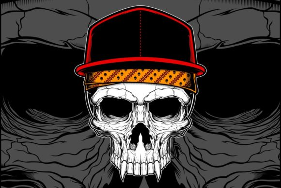 Download Free Skull Wearing Cap And Bandana Vector Graphic By Epic Graphic for Cricut Explore, Silhouette and other cutting machines.