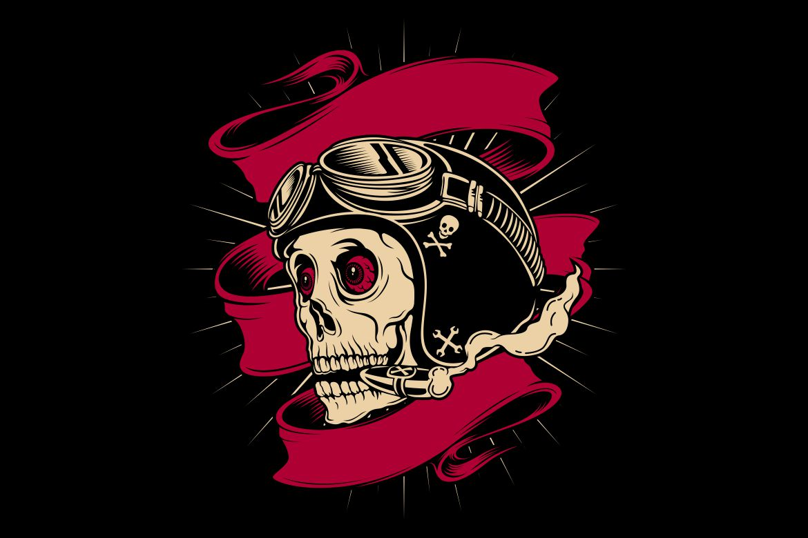 Download Free Skull Wearing Retro Helmet And Smoking Graphic By Epic Graphic for Cricut Explore, Silhouette and other cutting machines.
