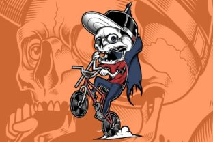 Download Free The Skull Of A Young Man Riding Graphic By Epic Graphic for Cricut Explore, Silhouette and other cutting machines.