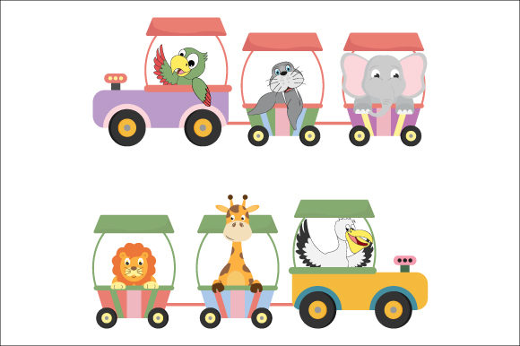 Download Free Train With Cute Animal Graphic By Curutdesign Creative Fabrica for Cricut Explore, Silhouette and other cutting machines.