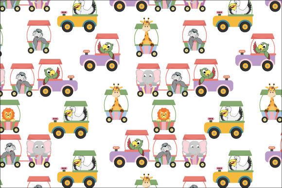 Download Free Train With Cute Animal Pattern Graphic By Curutdesign Creative for Cricut Explore, Silhouette and other cutting machines.