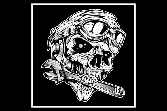 Download Free Vintage Grunge Style Skull The Skull Bit Graphic By Epic Graphic for Cricut Explore, Silhouette and other cutting machines.