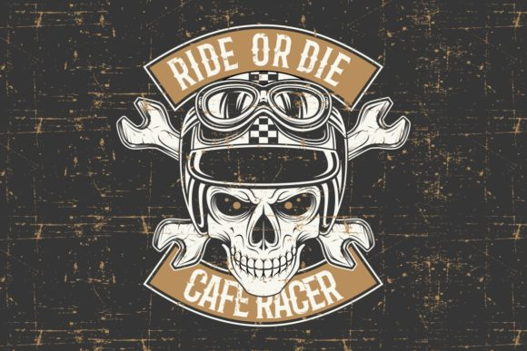 Download Free Vintage Grunge Style Skull Wearing Helmet Graphic By Epic for Cricut Explore, Silhouette and other cutting machines.