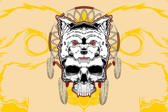 Download Free Wolf With Skull Hand Drawing Vector Graphic By Epic Graphic SVG Cut Files