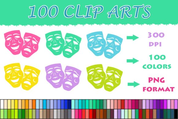 100 Face Mask Clip Art Graphic Illustrations By SweetDesign