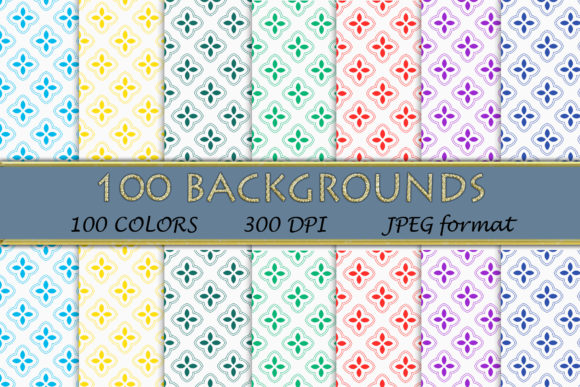100 Geometric Patterns-114 Graphic Backgrounds By SweetDesign