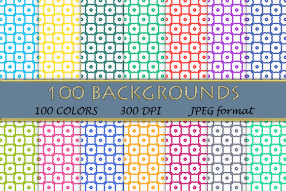 100 Geometric Patterns-118 Graphic Backgrounds By SweetDesign
