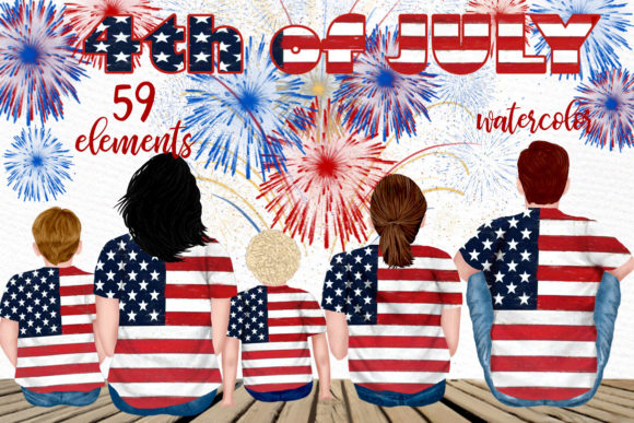 4th of July Family Clipart Graphic Illustrations By LeCoqDesign
