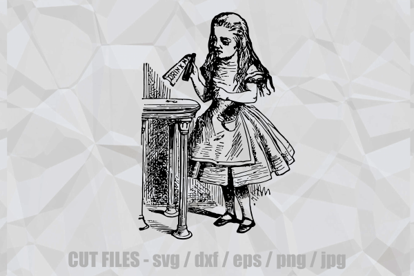 Download Free Alice In Wonderland Drink Me Cut File Graphic By Prawny for Cricut Explore, Silhouette and other cutting machines.