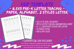 Print on Demand: Alphabet Tracing Pages, PreK, 2 Styles Graphic KDP Interiors By Tomboy Designs