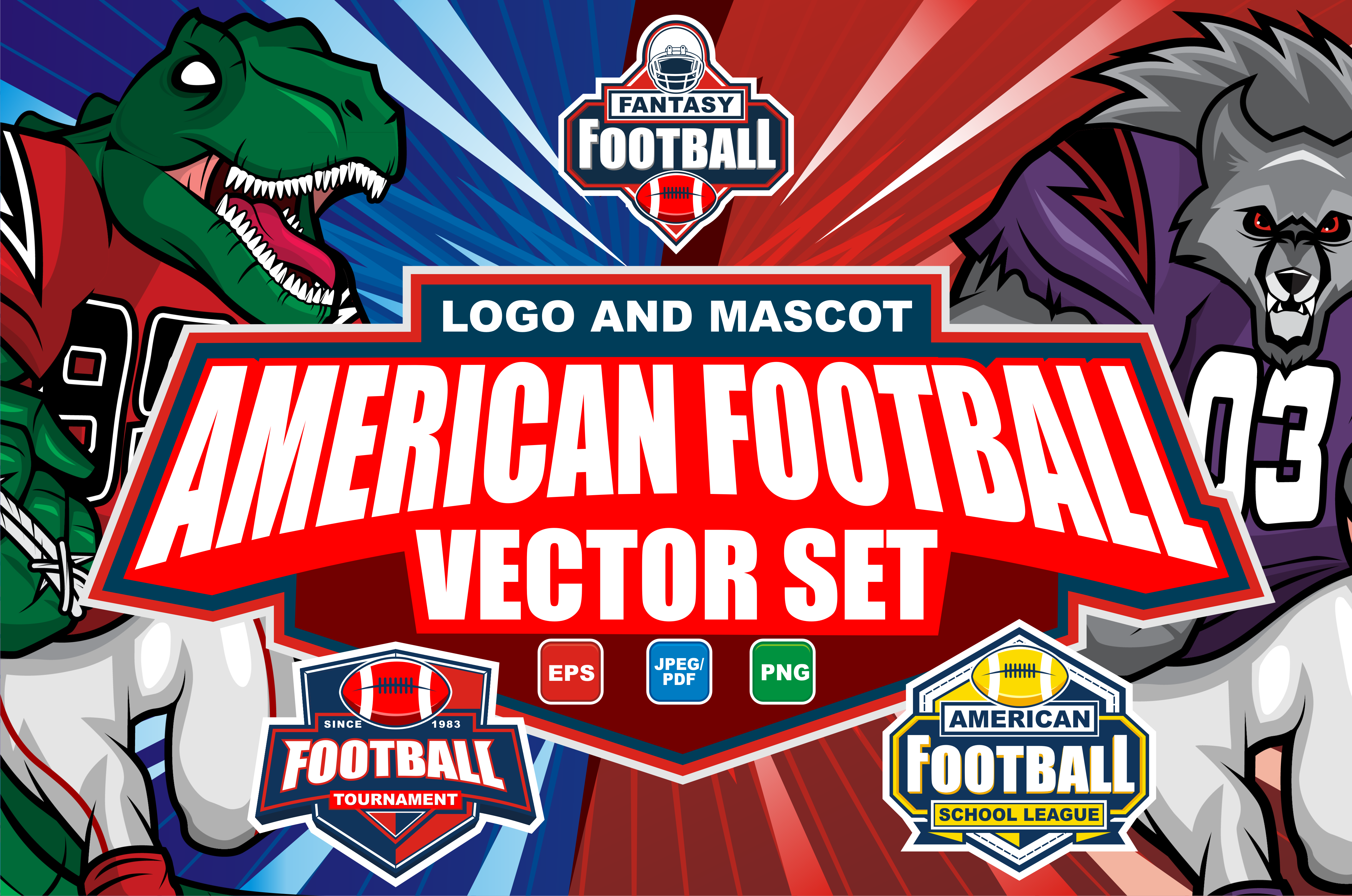 Download Free American Football Vector Set Graphic By Azkaryzki Creative Fabrica for Cricut Explore, Silhouette and other cutting machines.