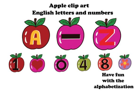 Download Free Apple English And Numbers Clip Art Graphic By Suda Digital Art for Cricut Explore, Silhouette and other cutting machines.