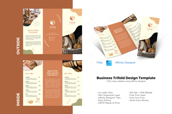 Download Free Bakery Restaurant Trifold Template Graphic By Rivatxfz for Cricut Explore, Silhouette and other cutting machines.