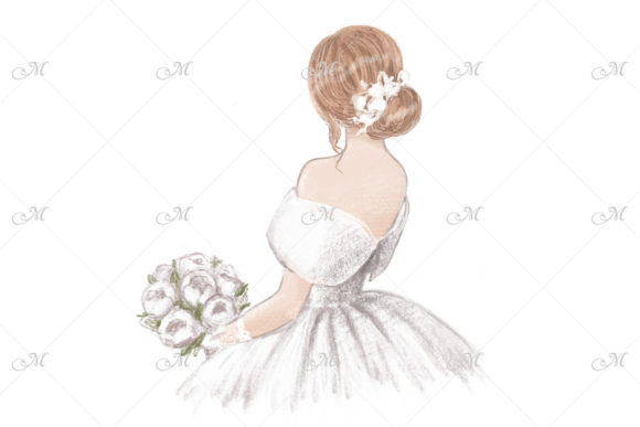 Bride with Bouquet Hand Drawn Illustration Graphic Illustrations By MaddyZ