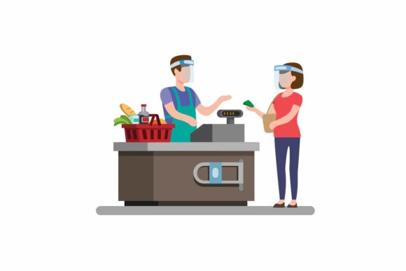 Download Free Cashier Groceries Store Wear Face Shield Graphic By Aryo Hadi for Cricut Explore, Silhouette and other cutting machines.