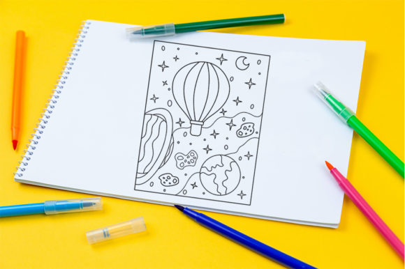 Print on Demand: Coloring Page Air Balloon Outer Space Graphic Coloring Pages & Books Kids By doridodesign