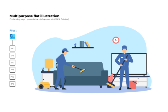 Download Free Flat Illustration Cleaning Service Graphic By Rivatxfz for Cricut Explore, Silhouette and other cutting machines.